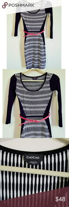 Bebe Long Sleeve Winter Dress Black and pink long sleeve dress Pink belt  Size X-Small Great Fit above the knee lenght Stretch Material  Worn once bebe Dresses Long Sleeve