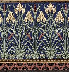 From the Aesthetic Movement Fenway series, 'Iris Frieze' in the Indigo colorway, adapted from English designer Walter Crane, Bradbury & Bradbury.