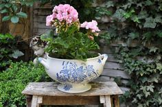 Antique French white and blue tureen without lid / Shabby chic