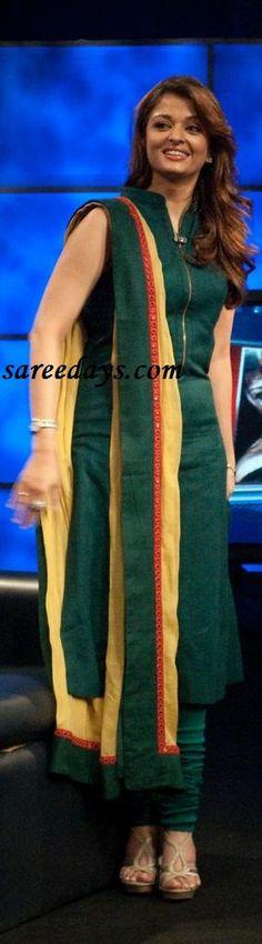 checkout Aishwarya rai in designer dark green sleeveless salwar