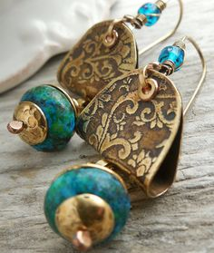 Brass Vines Damask Metalwork Earrings with Blue Green Chrysocolla Incan Treasure