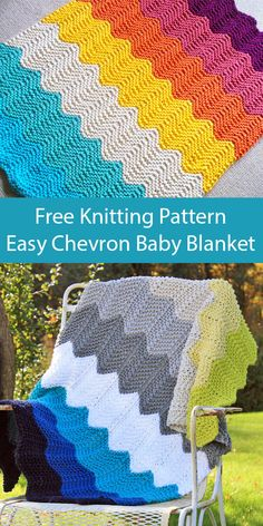 Free Knitting Pattern for Easy Quick Chevron Baby Blanket Free Knitting Pattern for Easy - Knitting Ideas Free Baby Blanket Patterns, Chevron Baby Blankets, Chevron Blanket, Knitted Baby Blankets, Easy Knit Baby Blanket, Chunky Knitting Patterns, Easy Knitting, Captain Marvel, Chevron Patterns