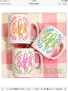 Hey, I found this really awesome Etsy listing at https://www.etsy.com/listing/193191653/monogram-wreath-mugs