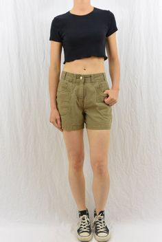 Vintage High Waisted Shorts, Size XS, Grunge, Workwear, Durable, Hippie, Hipster, Outdoor Clothing, Tumblr Clothes, Earthy by littleraisinvintage on Etsy