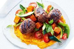 Beef kibbeh with roasted pumpkin hummus  Roast pumpkin takes this homemade hummus to a whole new level of deliciousness.  FULL RECIPES: http://bit.ly/2w3N7NS