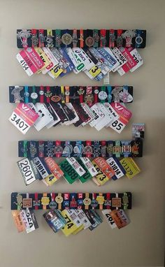 Show off all your running medal. Custom made from pallet boards. Show off all your running medal. Custom made from pallet boards. Running Bib Display, Race Bib Display, Race Medal Displays, Award Display, Display Medals, Running Medal Displays, Runner Medal Display, Trophy Display, Running Bibs