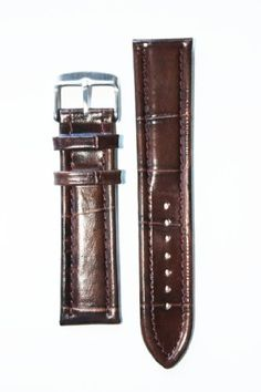 22mm Dark Brown Breitling Style Italian Leather Watchband with Leather Lining and S/S Buckle - http://www.specialdaysgift.com/22mm-dark-brown-breitling-style-italian-leather-watchband-with-leather-lining-and-ss-buckle/