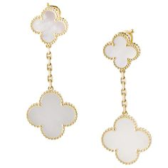 Van Cleef & Arpels Alhambra 18K Gold Mother-of-Pearl Earrings #Earrings #Van_Cleef_&_Arpels