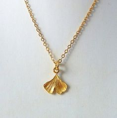 Ginkgo lea Gold necklace Statement necklace Handmade by anakim, $75.00