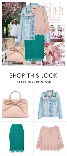 """""""Don't make me blush! """" by fashionistajane1 ❤ liked on Polyvore featuring Mansur Gavriel, Jacques Vert, Comptoir Des Cotonniers and Summit"""