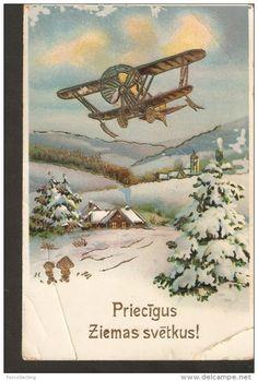b19. Antique Christmas New Year Greetings embossed postcard - Winter airplane Air plane transport - printed in Germany