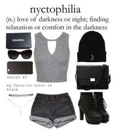 """""""Nyctophilia"""" by darkestangel13 ❤ liked on Polyvore featuring PèPè, Miss Selfridge, Aspinal of London, Chanel, Wet Seal, women's clothing, women, female, woman and misses"""