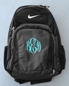 "Monogrammed Nike Performance Backpack <a href=""http://www.tinytulip.com"" rel=""nofollow"" target=""_blank"">www.tinytulip.com</a> Ladies Style Monogram with Mint Master Script"