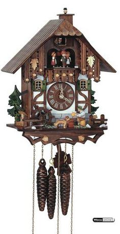 It is thought that the first cuckoo clocks were made in the in the Black Forest region of Germany, the Schwarzwald, now part of Baden Wuerttemberg. Old Clocks, Antique Clocks, Cuckoo Clocks, Brown Clocks, Coo Coo Clock, Tick Tock Clock, Black Forest Germany, Chalet Style, Father Time