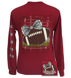 Girlie Girl Originals Preppy Football Team Big Bow Long Sleeve Cardinal T Shirt