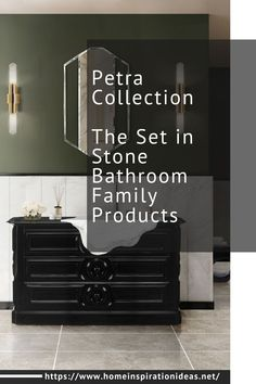 Petra Collection is a bathroom family products inspired by the Petra City, where the buildings are directly carved into stone. The Petra Washbasin features a high gloss black lacquered wood structure with a spacious and functional drawer on the front. It is finished with carved melted vessel sink made entirely by one single block of Ibiza Marble.