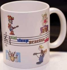 Music Practice Mug by Music Treasures Co.. $12.99. 11 oz colorful ceramic mug with inspirational humorous musicians. Message: Eat, Sleep, Practice, Play. Gift Box included.