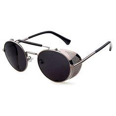 us: Vintage/Retro Sunglasses Black/Grey Round Frame Metal Side Shield + Sunglasses & Eyewear Buy Sunglasses, Stylish Sunglasses, Retro Sunglasses, Round Sunglasses, Sunglasses Women, Mirror Man, Steampunk Sunglasses, Thing 1, Side