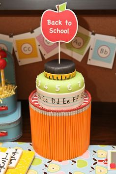 This back-to-school #cake with pencil cake stand is simply adorable. #party