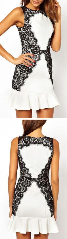 Lace Trim Ruffle Dress //