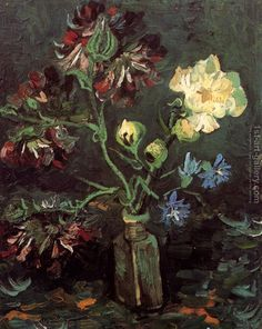 Vase With Myosotis And Peonies Vincent Van Gogh Reproduction | 1st Art Gallery