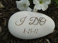 Engraved Stone, Wedding stone engraved, oathing stones, Etched Stone, Custom Engraved Stone- , Garden stones. $18.00, via Etsy.