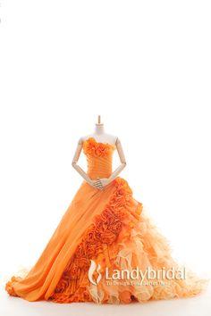 カラードレス プリンセス オレンジ 光沢なタフタ グラデーション お色直し 色変更可能 花嫁ドレス js0085-or