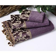 Purple Towels | Avanti Damask Fringe Purple 3-piece Towel Set | Overstock.com
