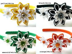 This listing is for 1 headband. Please select your color.    A flower is made in the technique of tsumami kanzashi.  Plastic headband is weaved with satin