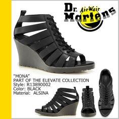 Dr Martens Mona Black Leather Peep-Toe Sandals Wedge  Shoes