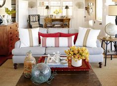 Cottage Living Room | Red Neutral Blue White