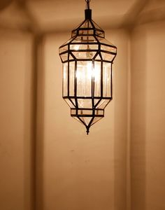 Moroccan Hanging Lantern with Clear Glass for the entrance vestibule