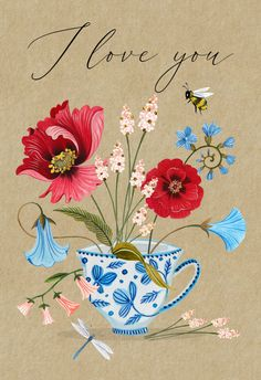 Floral Teacup - Love Card #greetingcards #printable #diy #Love #romance #emotion #passion Happy Birthday Images, Happy Birthday Greetings, Birthday Messages, Happy Birthday To Me Quotes, Thank You For Birthday Wishes, Thank You Greetings, Birthday Quotes, Love Cards, Thank You Cards