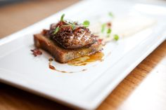 Seared Hudson Valley Foie Gras, Banana Bread French Toast, Crispy Ham, Hazelnut Purée, and Coffee-Maple Syrup