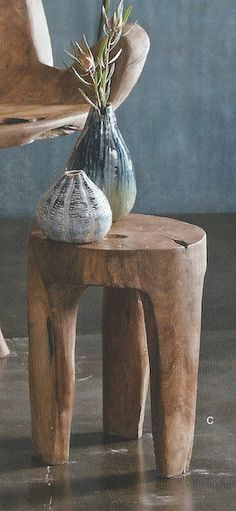 Pottery and the stool. Natural, handmade. Roost Big Sur Three Leg Stool