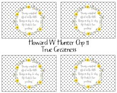 Howard W Hunter Chapter True Greatness- FREE printable handout Relief Society Handouts, Shop Up, Lds, Free Printables, Etsy Shop, Free Printable, Mormons