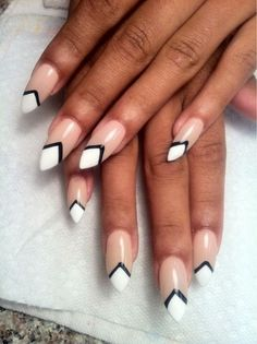 Almond nails white tips