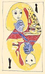 """Victor Brauner - Helene Smith. """"Les 22 projets de cartes ... ont été conçus en 1941, par André Breton, Victor Brauner, Oscar Dominguez, Max Ernst, Jacques Hérold, Wifredo Lam, Jacqueline Lamba, André Masson et Frédéric Delanglade à la villa Air-Bel (la Pomme à Marseille), où ils étaient réfugiés, attendant leurs visas pour les États-Unis. Chacun des artistes tira au sort deux cartes puis introduisirent une symbolique nouvelle en choisissant des personnages ..."""""""