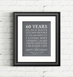 60th BIRTHDAY GIFT Sign Dad Birthday Gift Mom door PrintsbyChristine