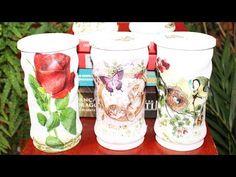 Decoupage on glass - Glass jars - YouTube Decoupage Tutorial, Aluminum Cans, Tye Dye, Craft Videos, Craft Tutorials, Glass Jars, Hobbit, Diy And Crafts, Recycling