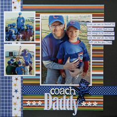 """the """"coach daddy"""" and you have a great boy layout OR change the title and photos and it could be a great girl layout.Forget the """"coach daddy"""" and you have a great boy layout OR change the title and photos and it could be a great girl layout. Baseball Scrapbook, Kids Scrapbook, Scrapbook Paper Crafts, Scrapbook Cards, Scrapbooking Ideas, Scrapbook Sketches, Scrapbook Page Layouts, Picture Layouts, Creative Memories"""