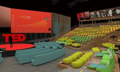 Coalesse Circa and Hosu Lounges create comfortable seating for inspiration at the TED Theatre in the Vancouver Convention Centre.