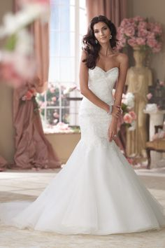 Lace + Tulle Mermaid Wedding Gown I @MonCheriBridal I See more here: http://www.weddingwire.com/wedding-photos/i/mermaid-dress-price-701-to-1500-ivory-dress-waist-dropped-boho-chic-style-beach-hollywood-glam-classic-beading-organza-lace-david-tutera-for-mon-cheri-floor-tulle-sweetheart-strapless-romantic/i/b52c11cc61c3a17e-029ccb40745cedba/c6aec9954e1d6f66?tags=hollywood-glampage=7cat=dressestype=search I #wedding #dress