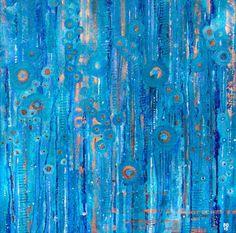 Large painting abstract art on canvas blue by BenDyerOriginalArt