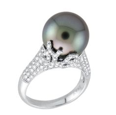 Coral Tahitian Pearl and Diamond ring - Yael Designs - Product Search - JCK Marketplace