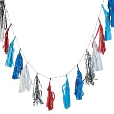 Patriotic+Tassel+Garland+-+OrientalTrading.com ($4.98/6ft;  could use as bunting on dessert/candy buffet table)
