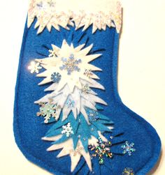 "Approx. 6.5"" Mini Snowburst Christmas Felt Stocking for treats   - Christmas stocking - Holiday decor - Christmas felt by cuttingupintexas on Etsy https://www.etsy.com/listing/205954322/approx-65-mini-snowburst-christmas-felt"