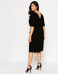 Image 2 of ASOS CURVE Plain Wiggle Cut Out Back Dress