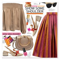 """""""Shimmy, Shimmy: Off-Shoulder Tops"""" by spenderellastyle ❤ liked on Polyvore featuring Sans Souci, House of Holland, Chloé, Anya Hindmarch, OPI, MAC Cosmetics, Prada, Elizabeth Arden, Sulwhasoo and showsomeshoulder"""