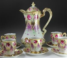 Hand Painted Nippon Gold Moriage Roses 12 PC Chocolate Coffee Pot Cup Saucer Set